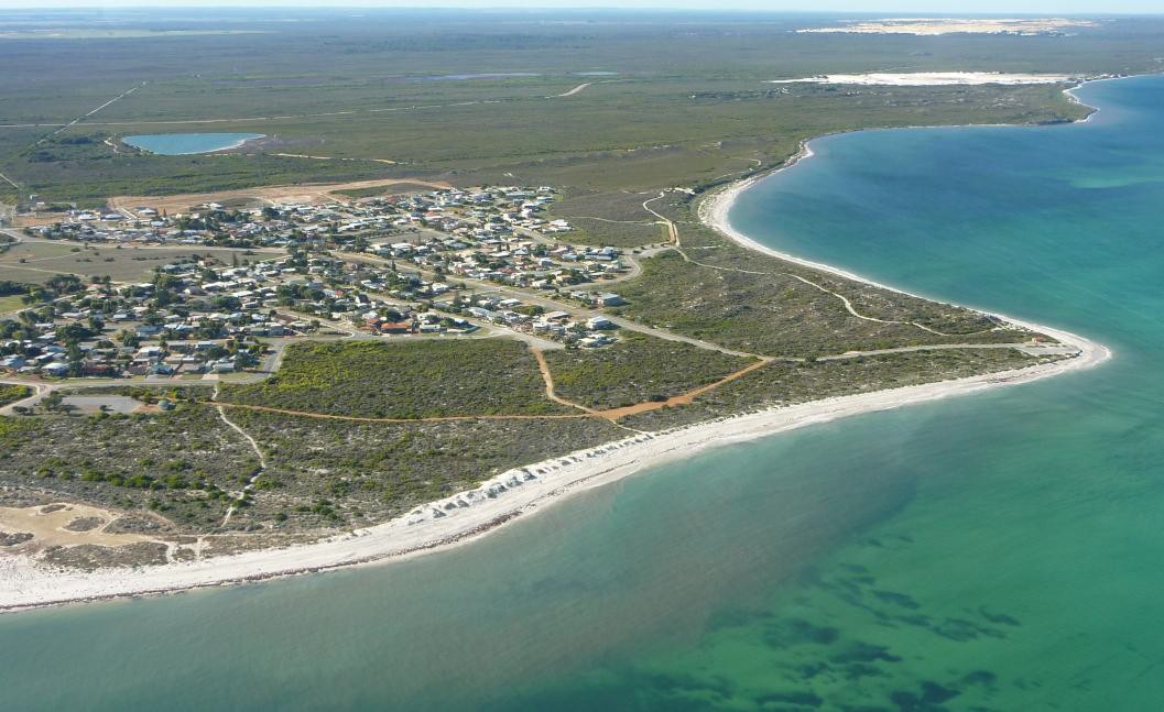 aerial photo of Cervantes demonstrating the low lying sandy nature of coastal landforms along the Central Coast