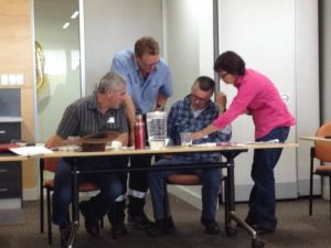 The Heavenly Hectares Course participants looked at their individual property aerial photos to identify land management issues. From right Sue Ryall, Bryan Phillip, Andrew Darbyshire and Nic de Vries